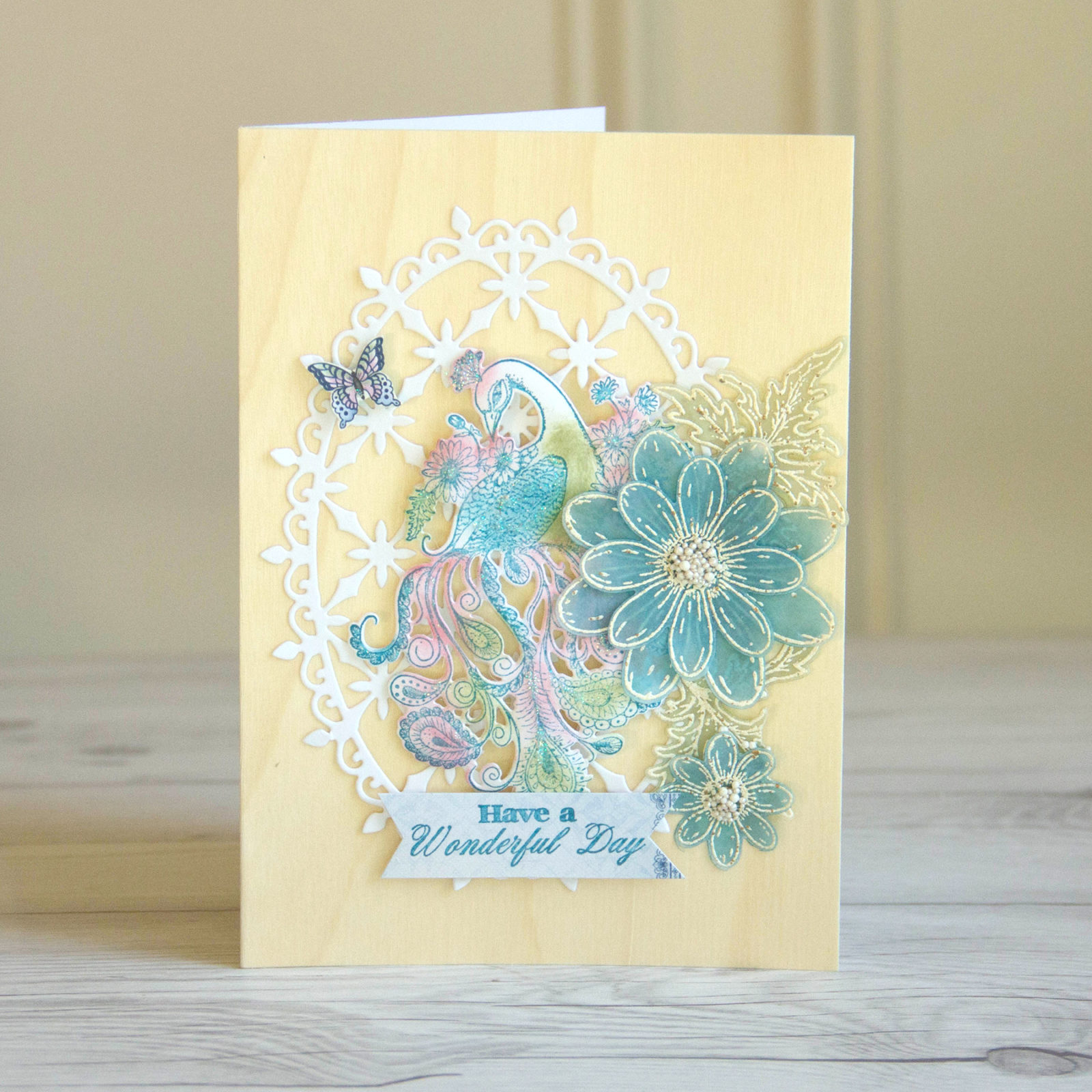 pretty peacock cards with heartfelt creations etc papers