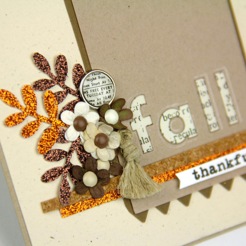 Fall card using Bronze and Orange glitter yardstick